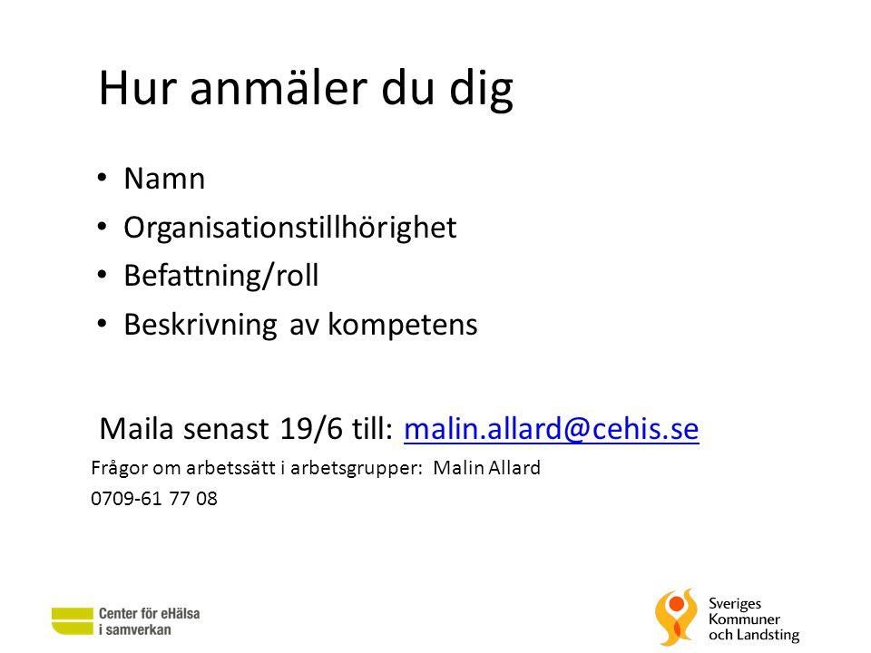Hur anmäler du dig Namn Organisationstillhörighet Befattning/roll