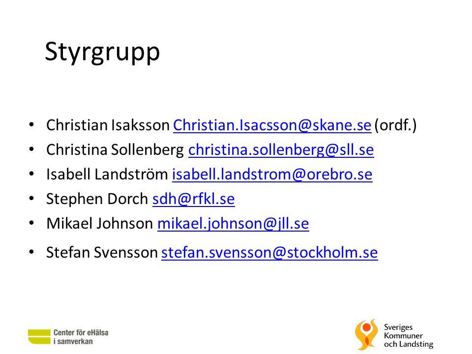 Styrgrupp Christian Isaksson Christian.Isacsson@skane.se (ordf.)