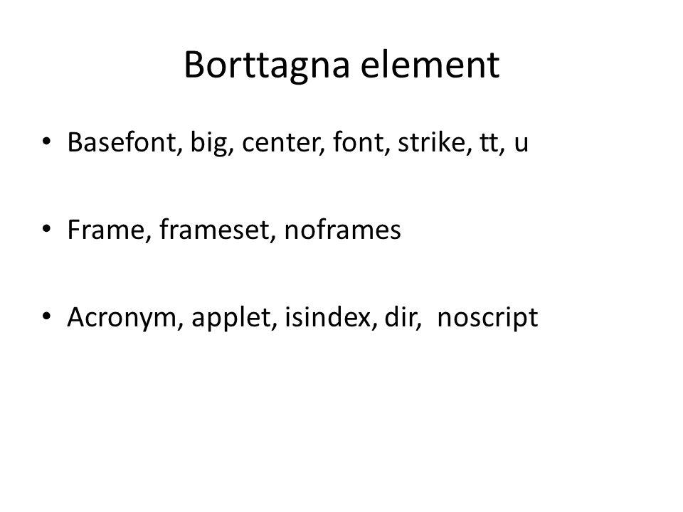 Borttagna element Basefont, big, center, font, strike, tt, u