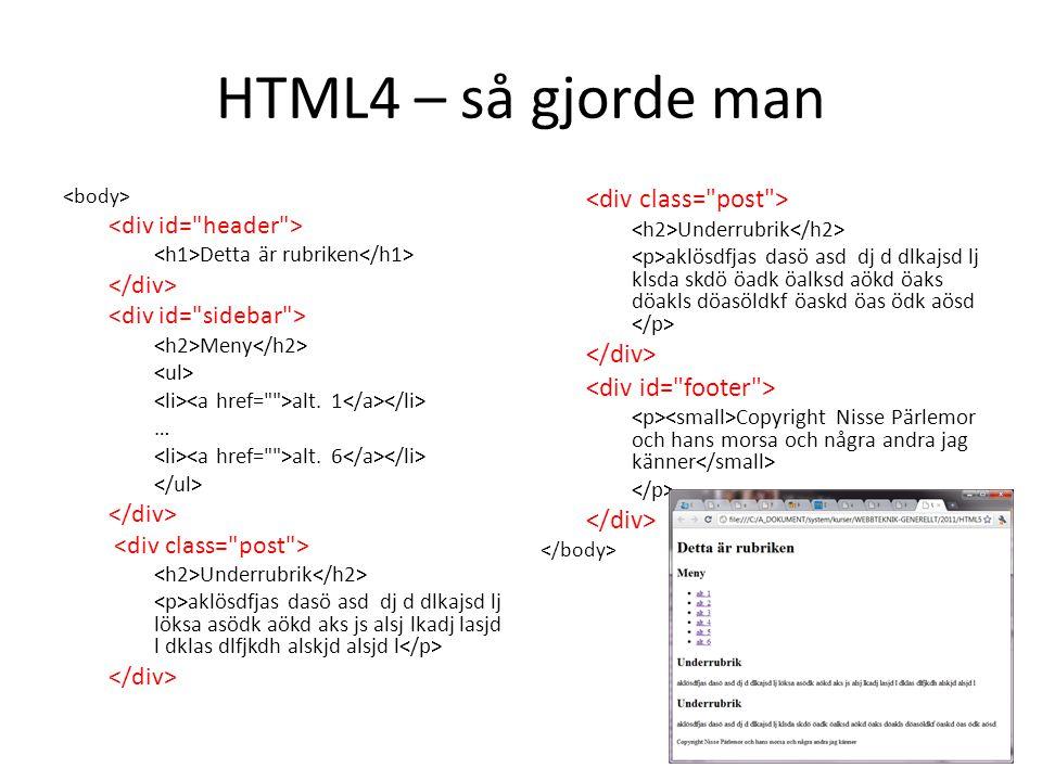 HTML4 – så gjorde man <div class= post > </div>