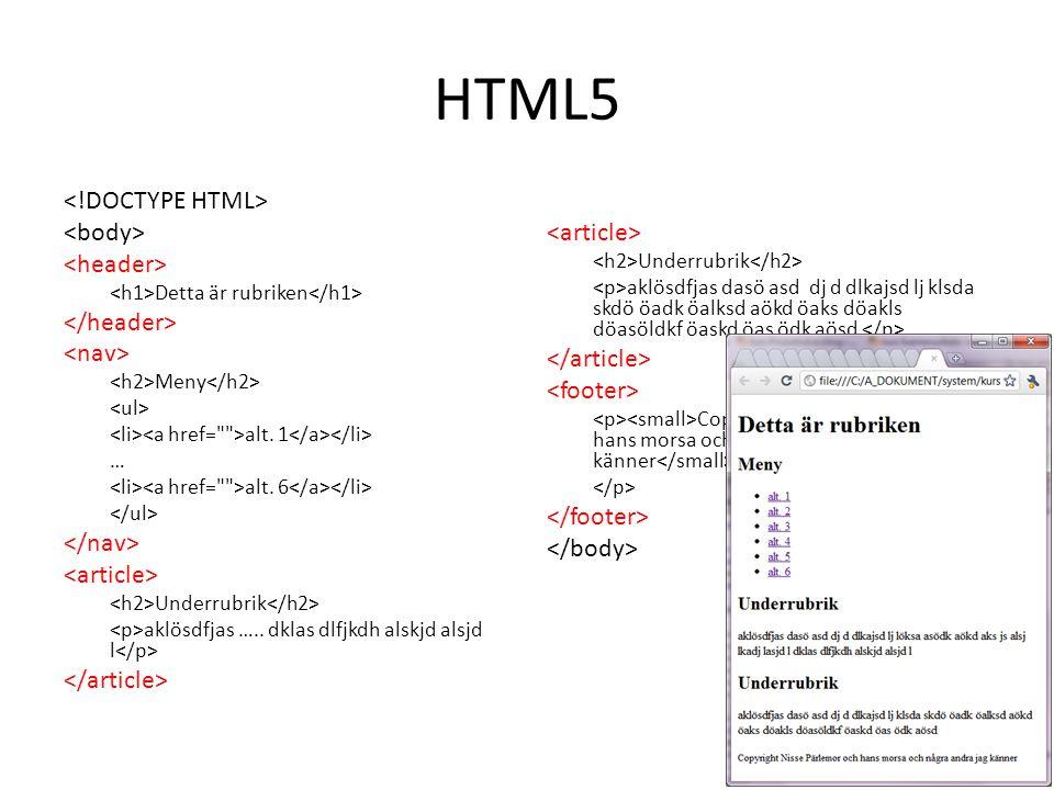HTML5 <!DOCTYPE HTML> <body> <header>