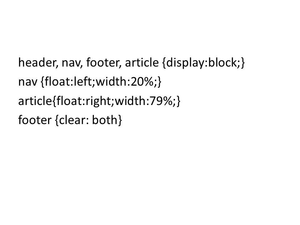 header, nav, footer, article {display:block;} nav {float:left;width:20%;} article{float:right;width:79%;} footer {clear: both}