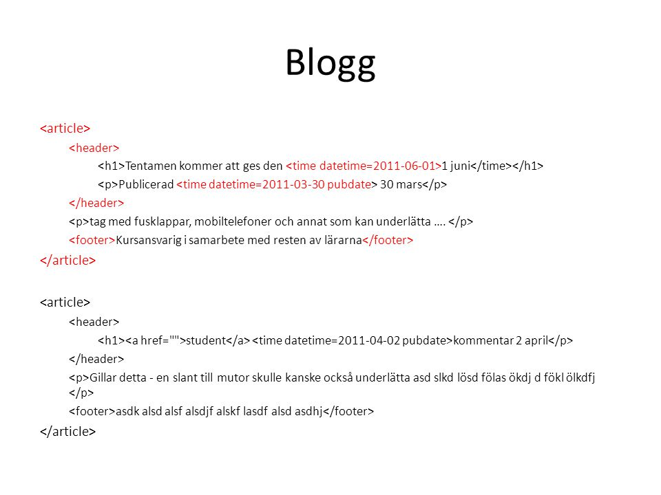 Blogg <article> </article> <header>