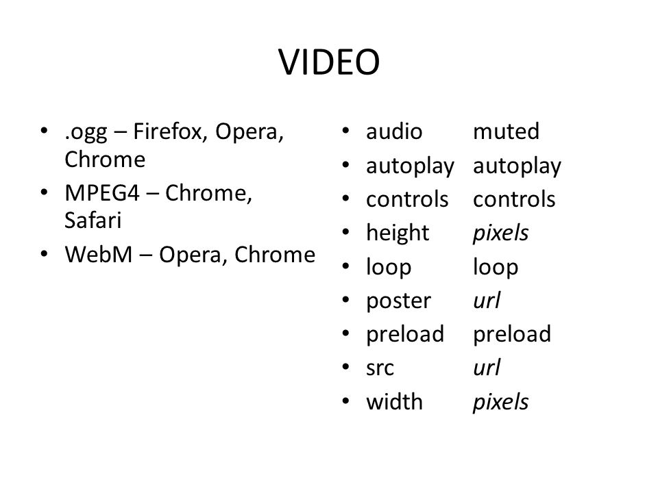 VIDEO .ogg – Firefox, Opera, Chrome MPEG4 – Chrome, Safari
