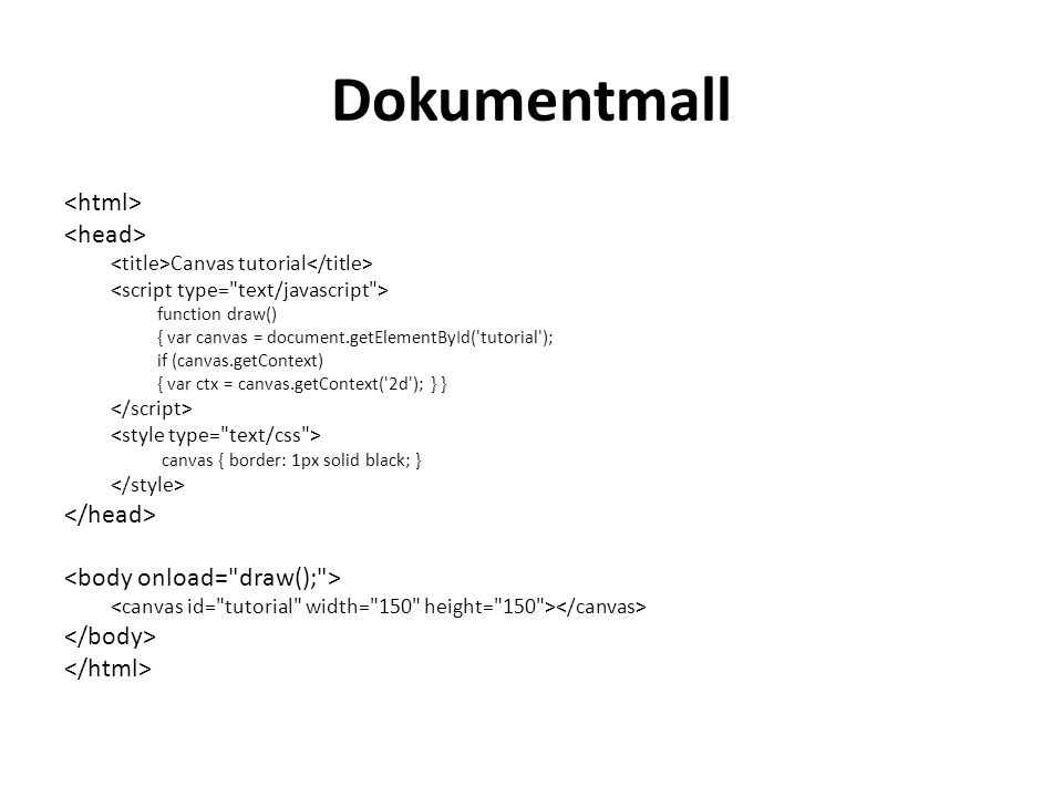 Dokumentmall <html> <head> </head>