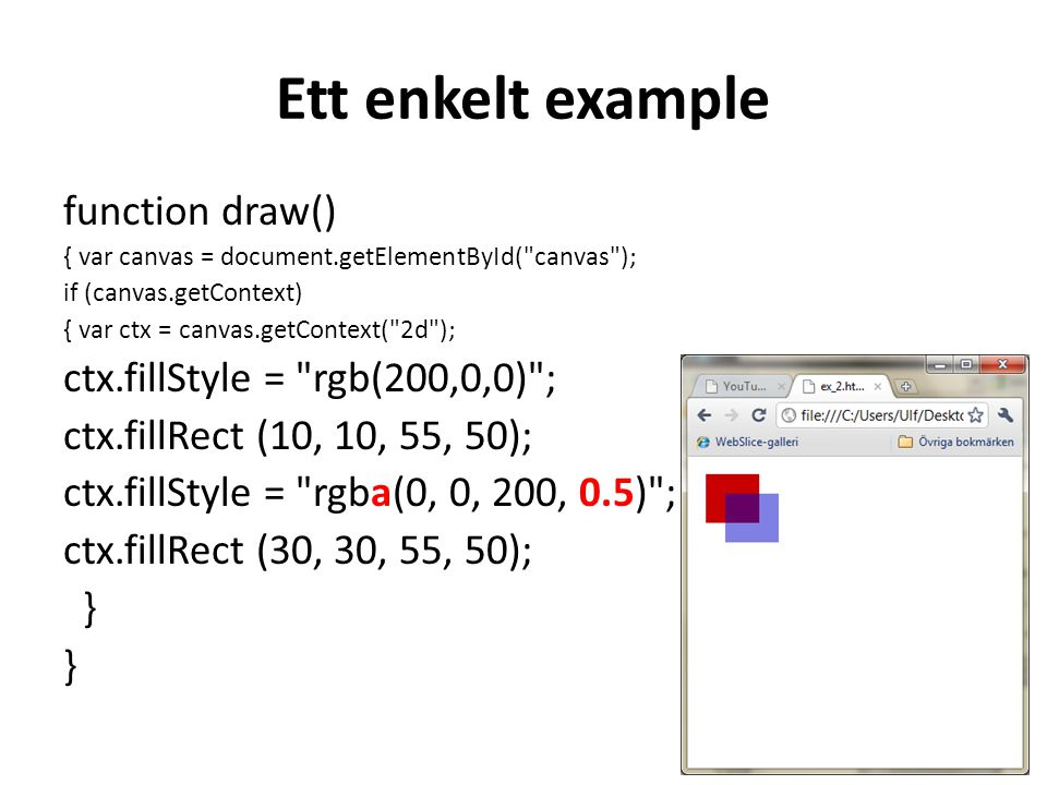 Ett enkelt example function draw() ctx.fillStyle = rgb(200,0,0) ;