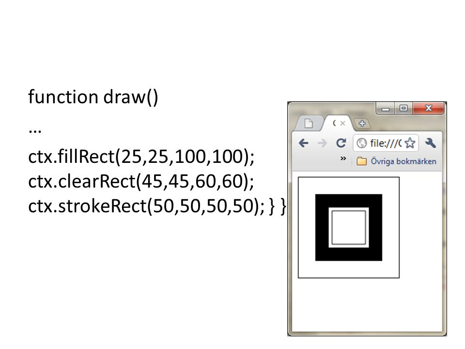 function draw() … ctx. fillRect(25,25,100,100); ctx