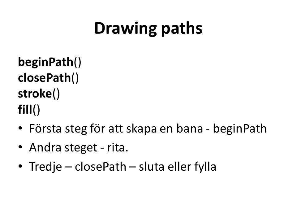 Drawing paths beginPath() closePath() stroke() fill()