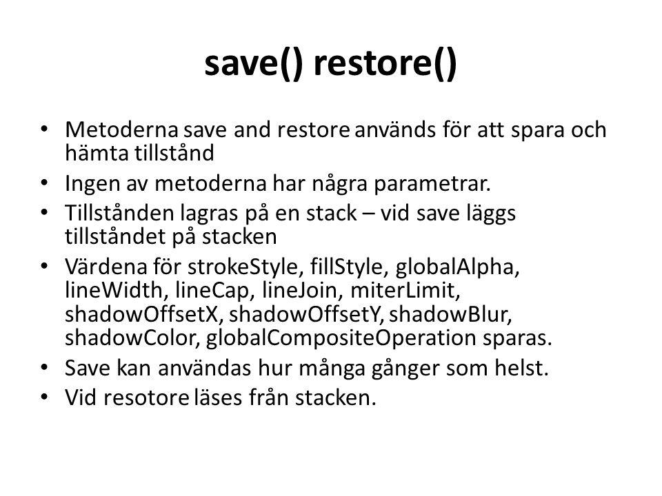 save() restore() Metoderna save and restore används för att spara och hämta tillstånd. Ingen av metoderna har några parametrar.