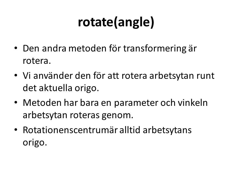 rotate(angle) Den andra metoden för transformering är rotera.