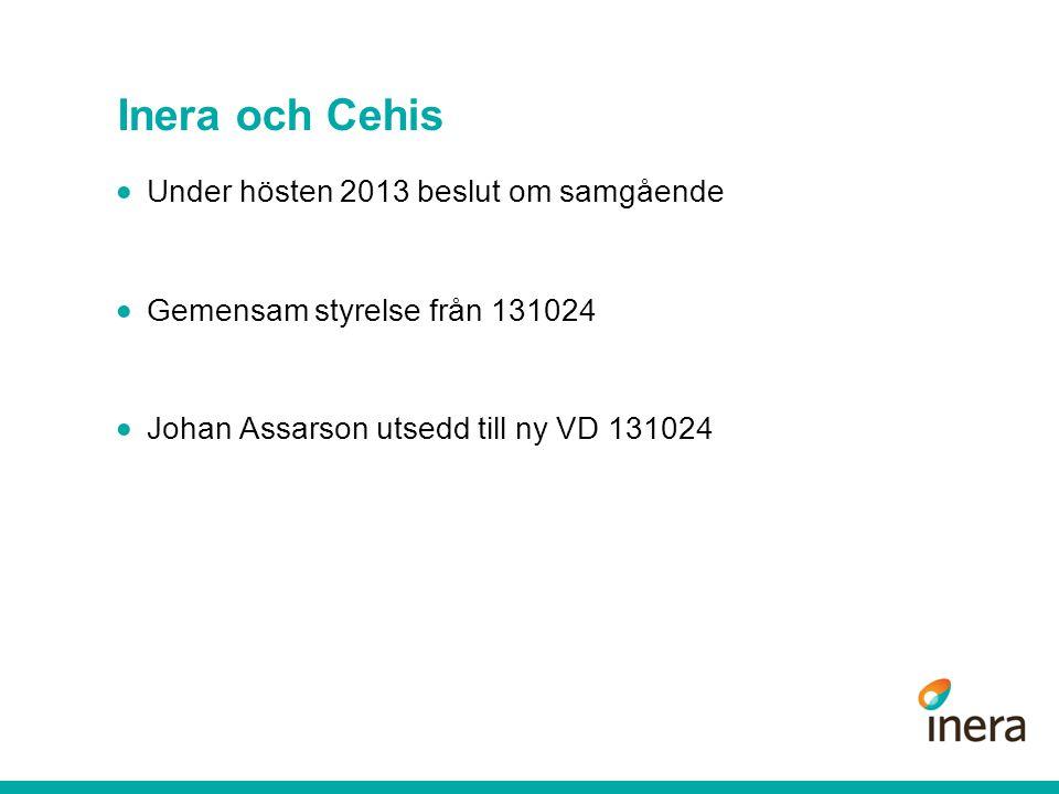 Inera och Cehis Under hösten 2013 beslut om samgående