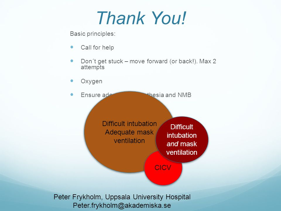 Thank You! Difficult intubation Adequate mask ventilation