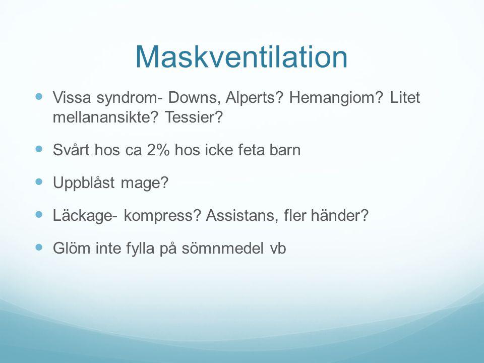 Maskventilation Vissa syndrom- Downs, Alperts Hemangiom Litet mellanansikte Tessier Svårt hos ca 2% hos icke feta barn.