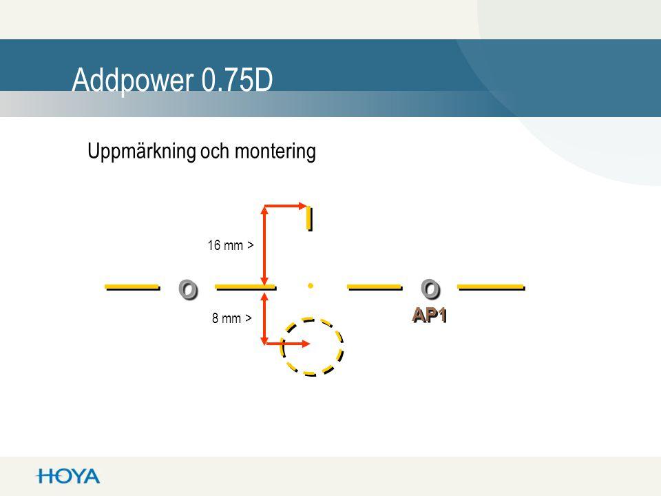 . Addpower 0.75D o o Uppmärkning och montering AP1 16 mm >