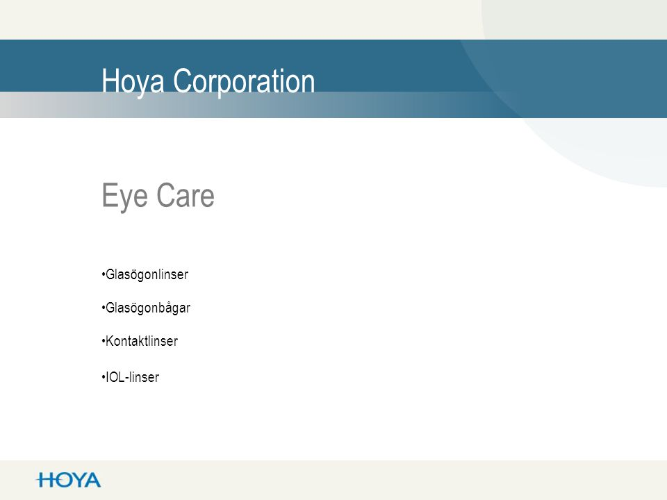Hoya Corporation Eye Care Glasögonlinser Glasögonbågar Kontaktlinser