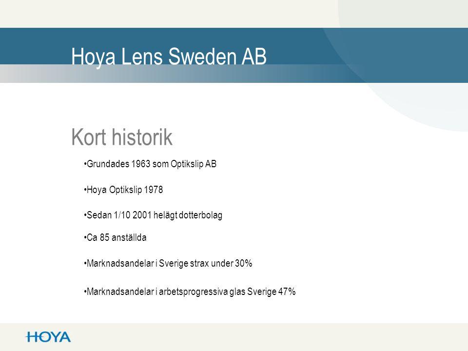 Hoya Lens Sweden AB Kort historik Grundades 1963 som Optikslip AB