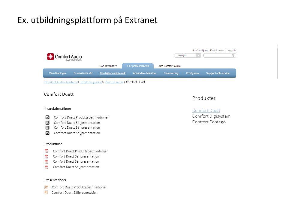 Ex. utbildningsplattform på Extranet
