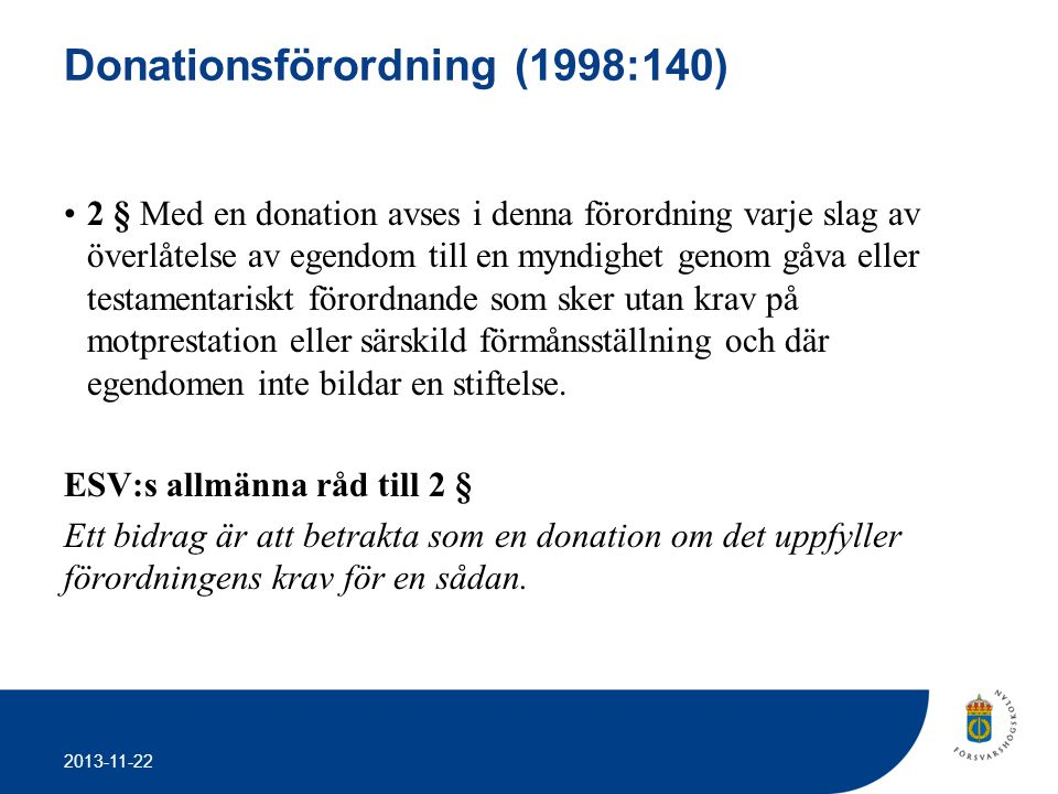 Donationsförordning (1998:140)