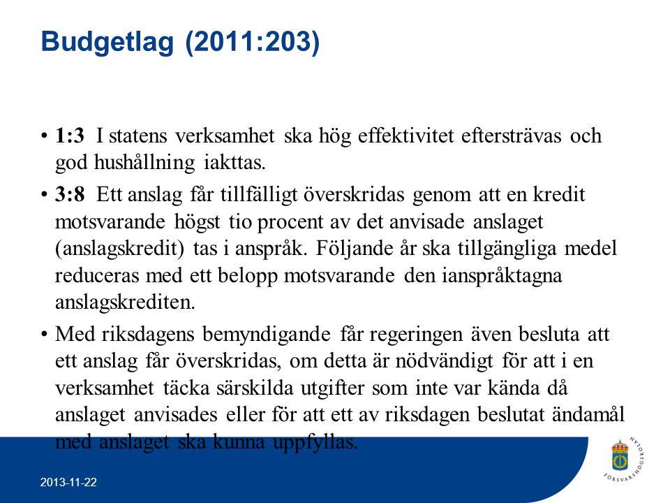 Budgetlag (2011:203) 1:3 I statens verksamhet ska hög effektivitet eftersträvas och god hushållning iakttas.