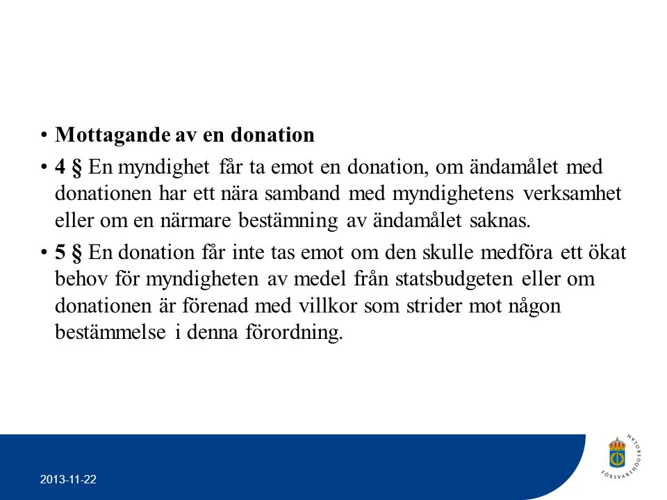 Mottagande av en donation