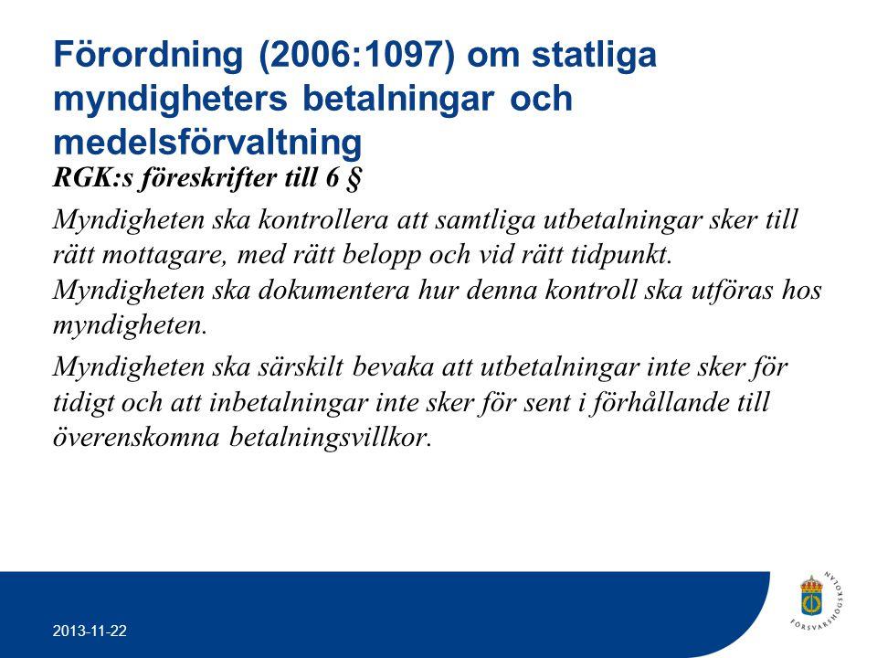 Förordning (2006:1097) om statliga myndigheters betalningar och medelsförvaltning