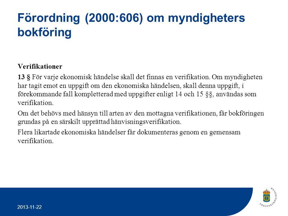 Förordning (2000:606) om myndigheters bokföring