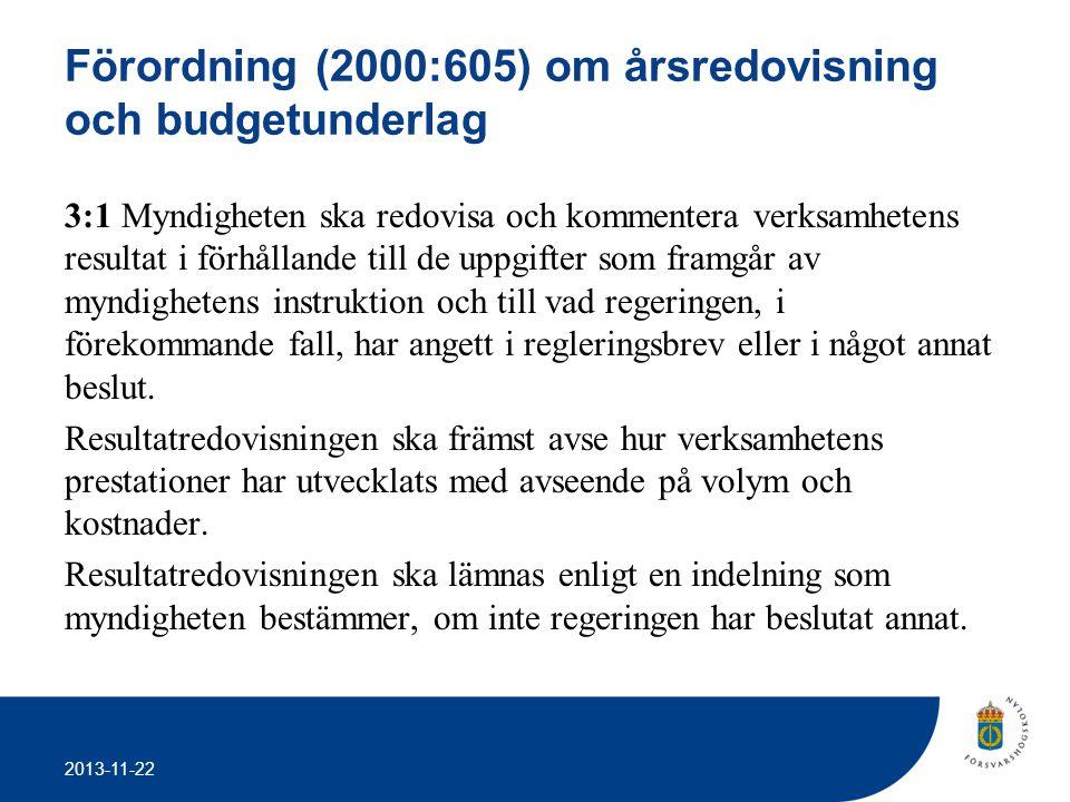 Förordning (2000:605) om årsredovisning och budgetunderlag