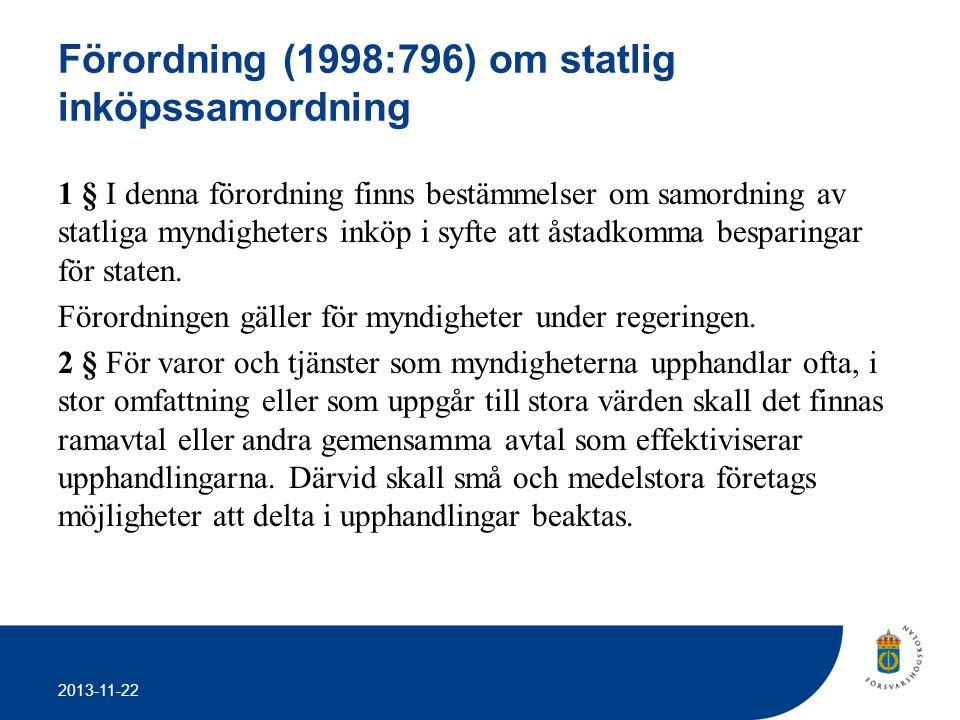 Förordning (1998:796) om statlig inköpssamordning