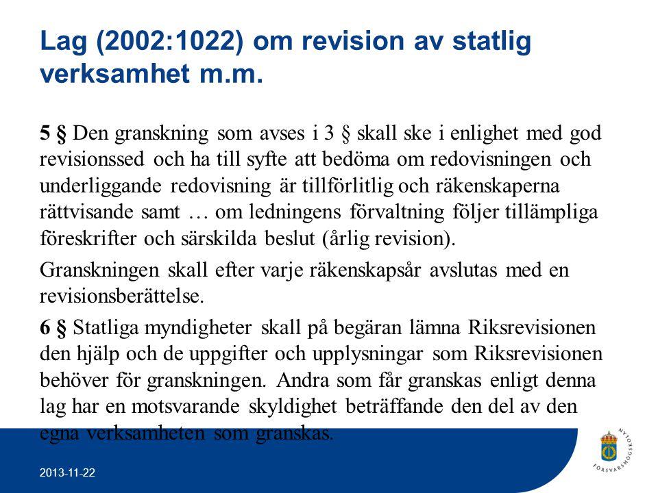 Lag (2002:1022) om revision av statlig verksamhet m.m.