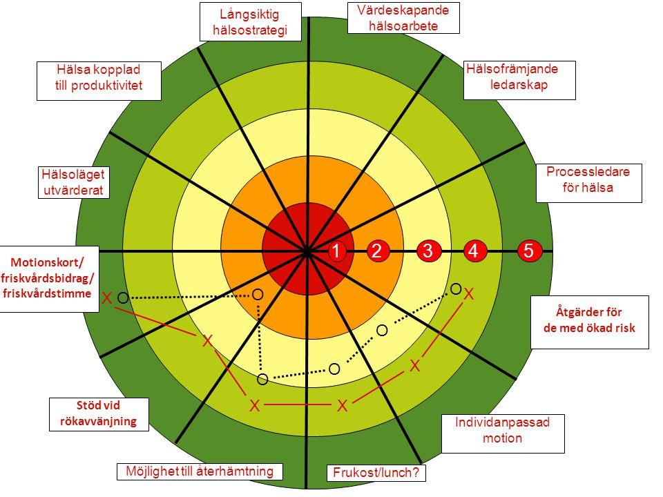 1 2 3 4 5 O X Värdeskapande Långsiktig hälsoarbete hälsostrategi