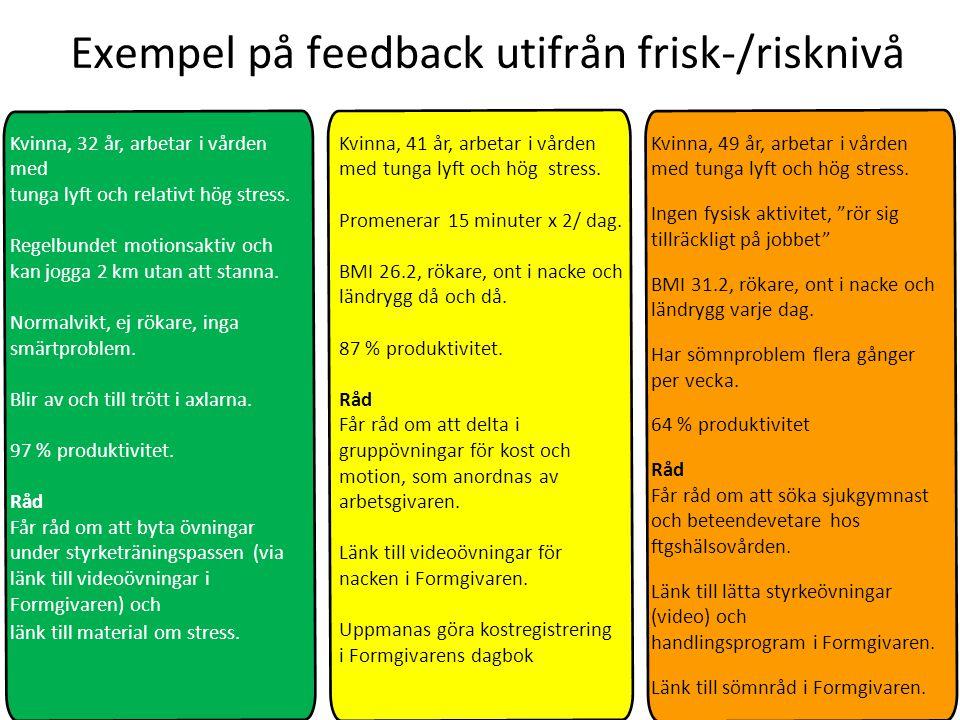 Exempel på feedback utifrån frisk-/risknivå