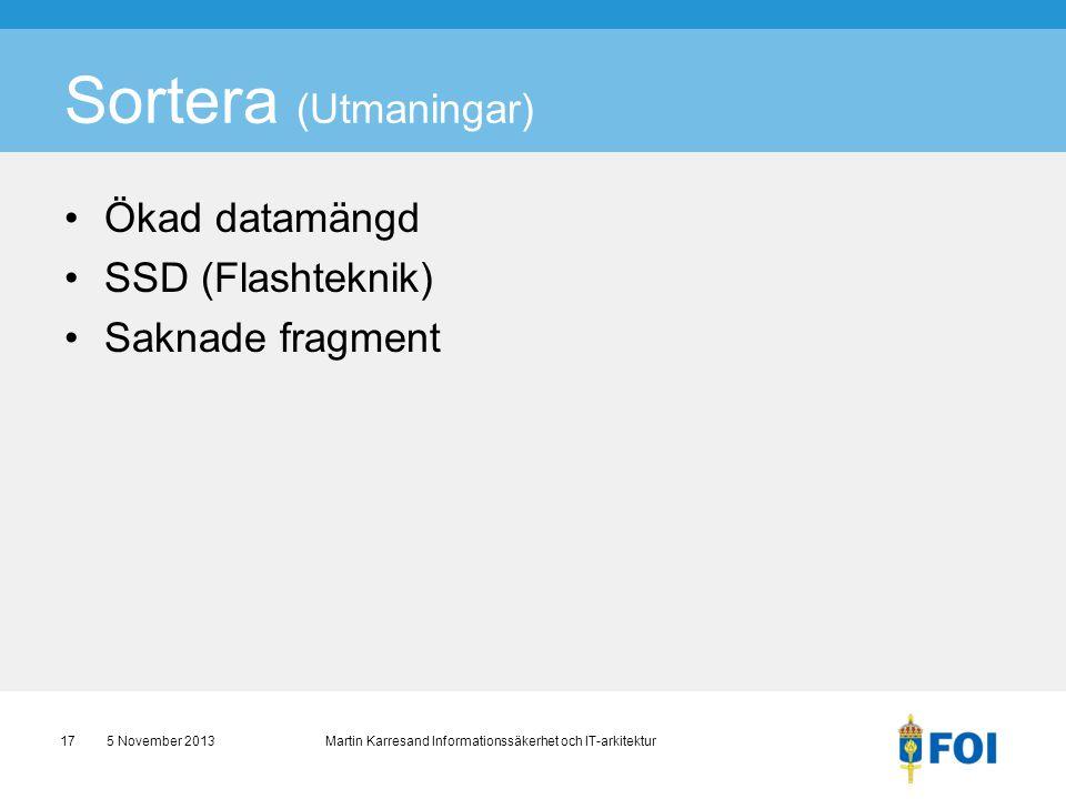 Sortera (Utmaningar) Ökad datamängd SSD (Flashteknik) Saknade fragment