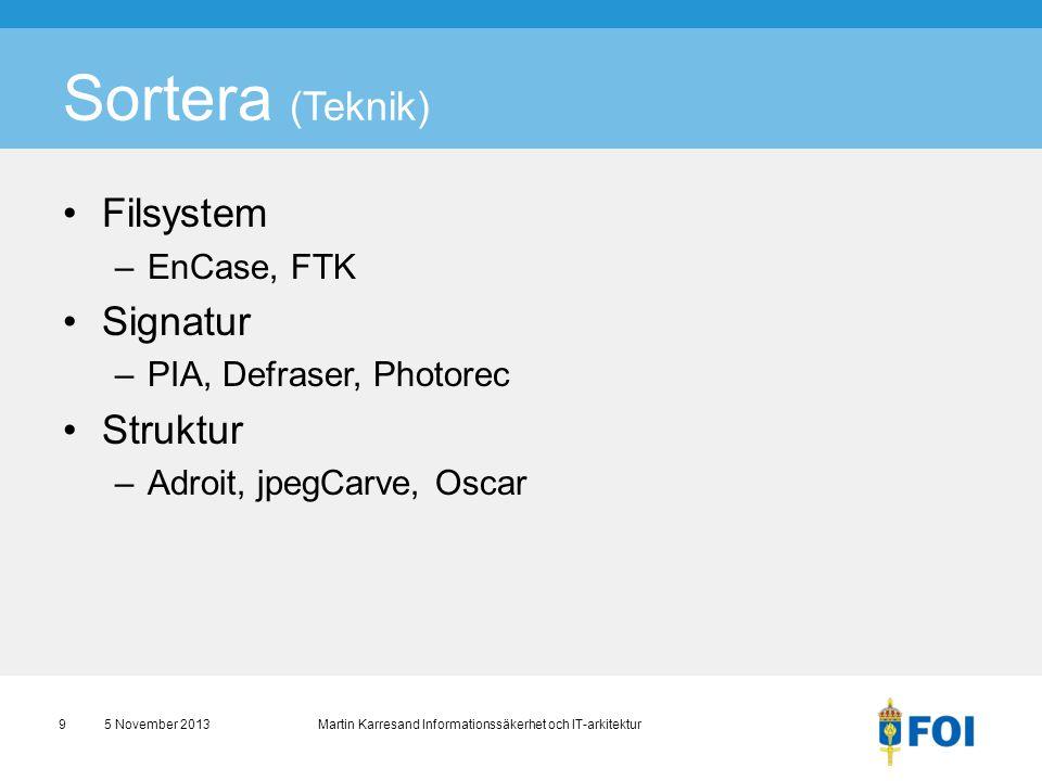 Sortera (Teknik) Filsystem Signatur Struktur EnCase, FTK