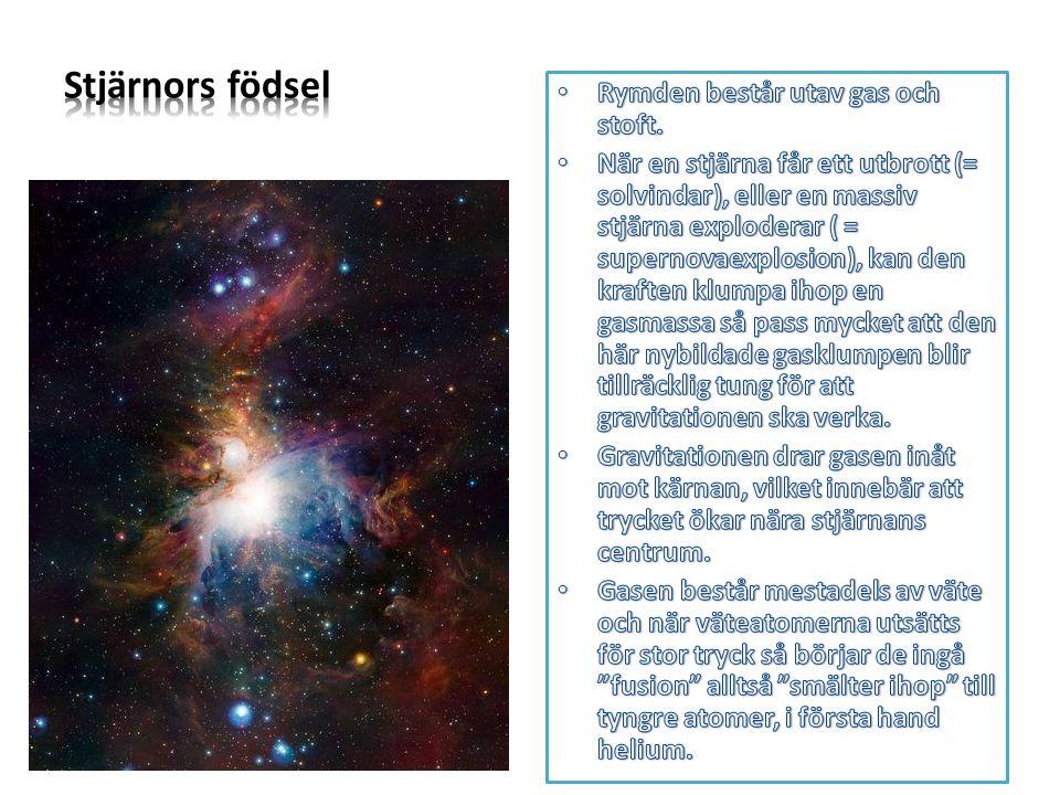 Stjärnors födsel Rymden består utav gas och stoft.