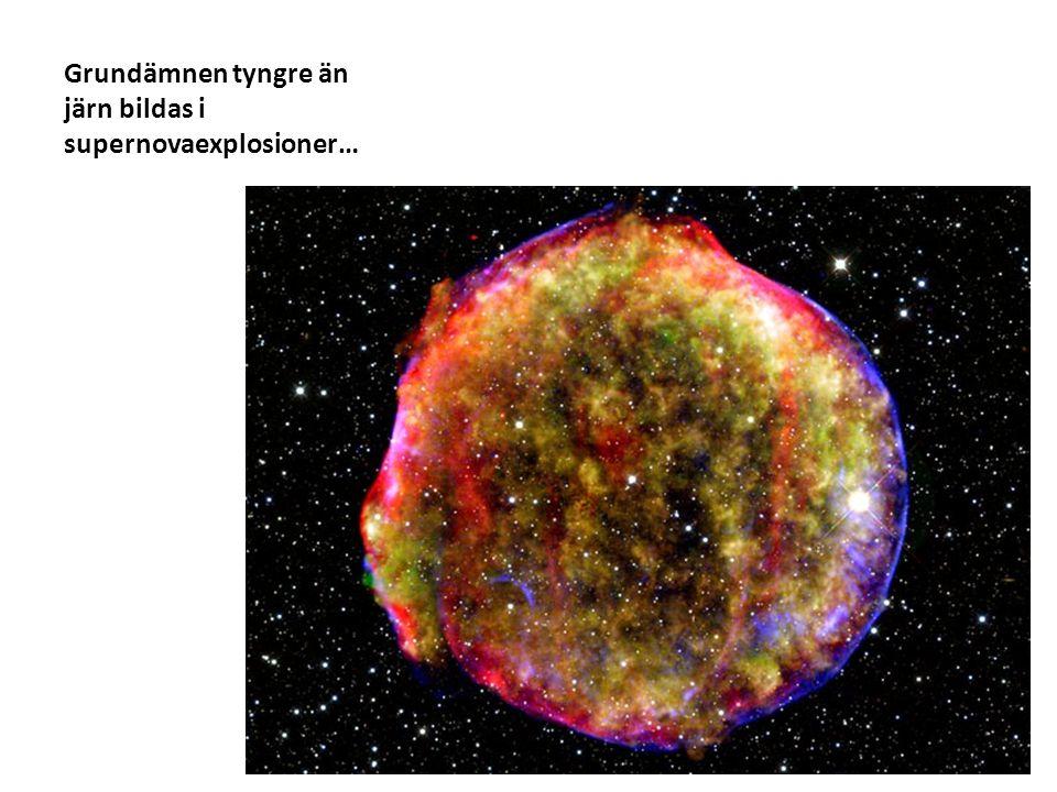 Grundämnen tyngre än järn bildas i supernovaexplosioner…