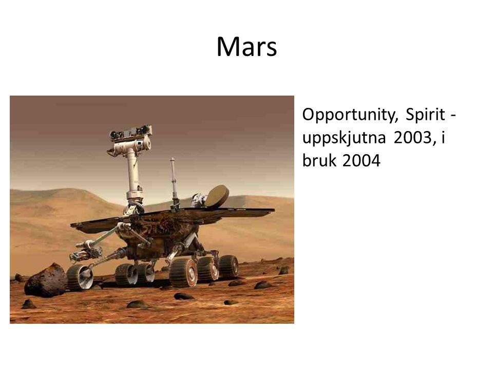 Mars Opportunity, Spirit -uppskjutna 2003, i bruk 2004