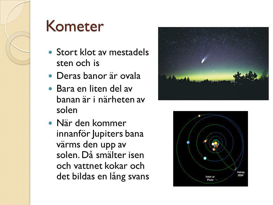 Kometer Stort klot av mestadels sten och is Deras banor är ovala