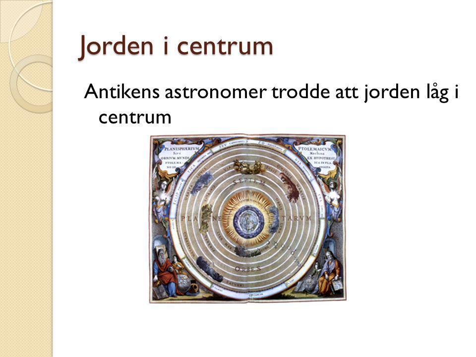 Jorden i centrum Antikens astronomer trodde att jorden låg i centrum