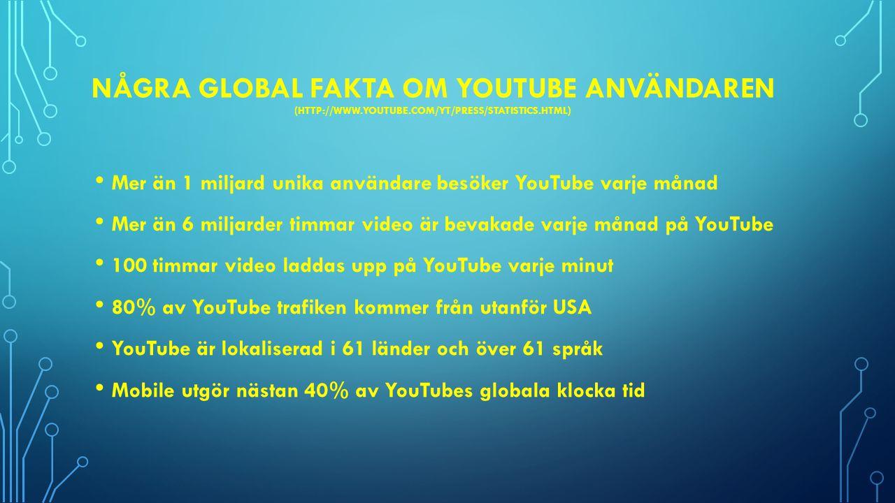 Några Global fakta om Youtube användaren (http://www. youtube