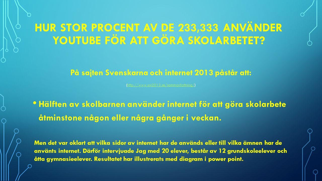 På sajten Svenskarna och internet 2013 påstår att: