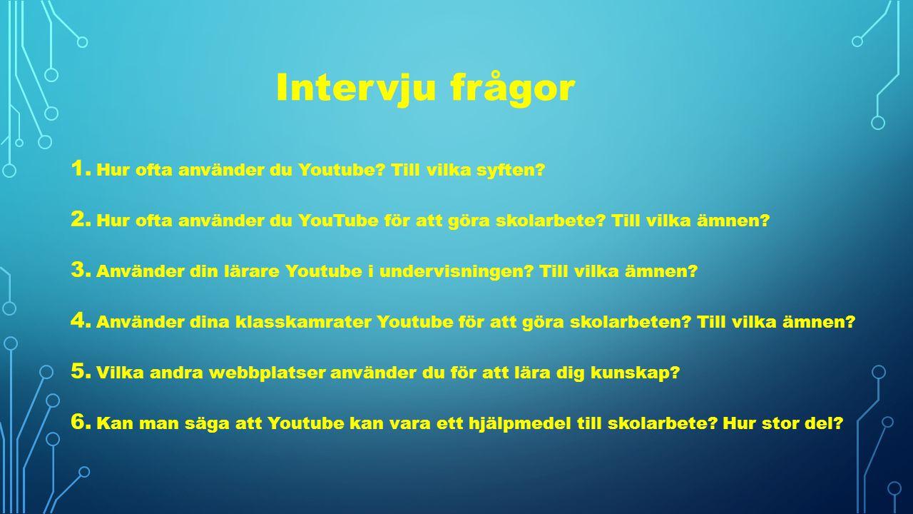 Intervju frågor Hur ofta använder du Youtube Till vilka syften