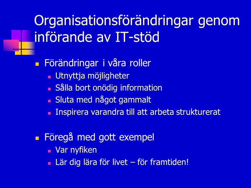 Organisationsförändringar genom införande av IT-stöd