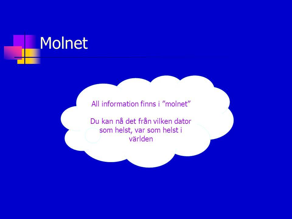 Molnet All information finns i molnet