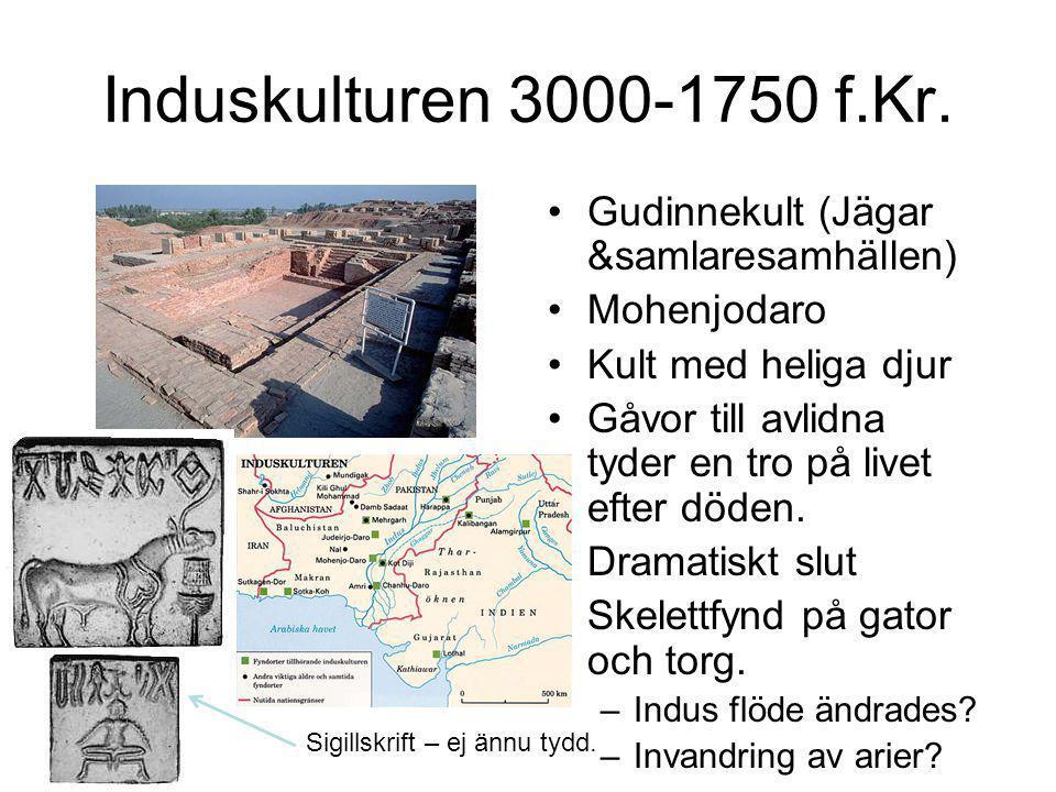 Induskulturen 3000-1750 f.Kr. Gudinnekult (Jägar &samlaresamhällen)