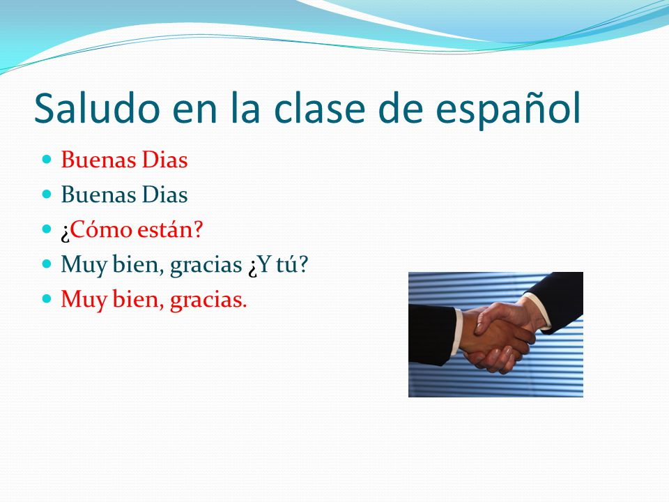 Saludo en la clase de español