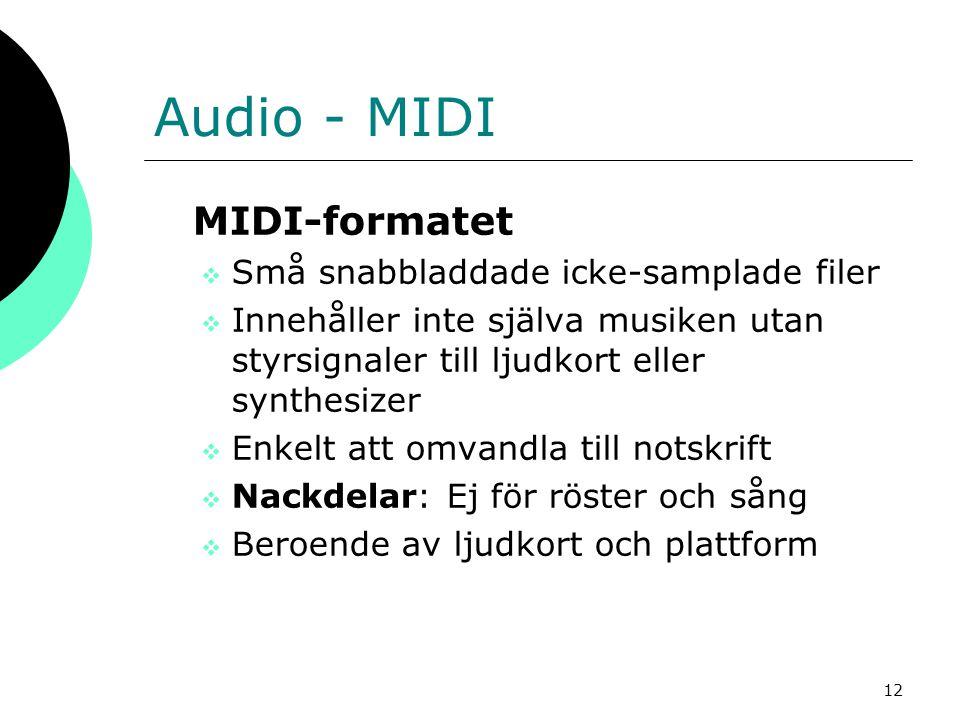 Audio - MIDI MIDI-formatet Små snabbladdade icke-samplade filer