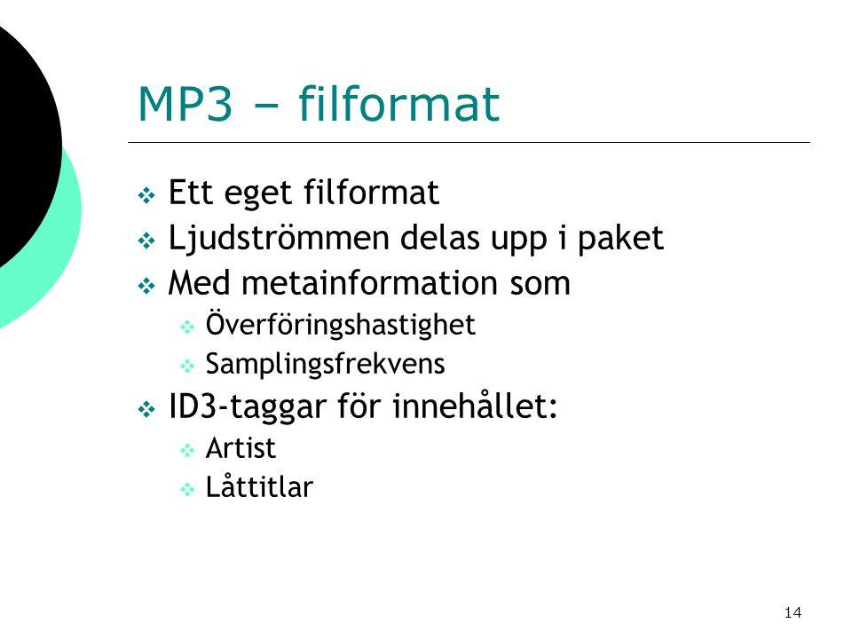 MP3 – filformat Ett eget filformat Ljudströmmen delas upp i paket