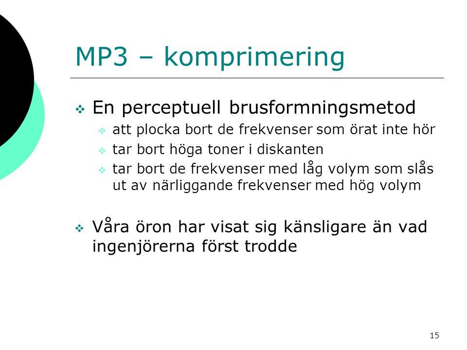 MP3 – komprimering En perceptuell brusformningsmetod