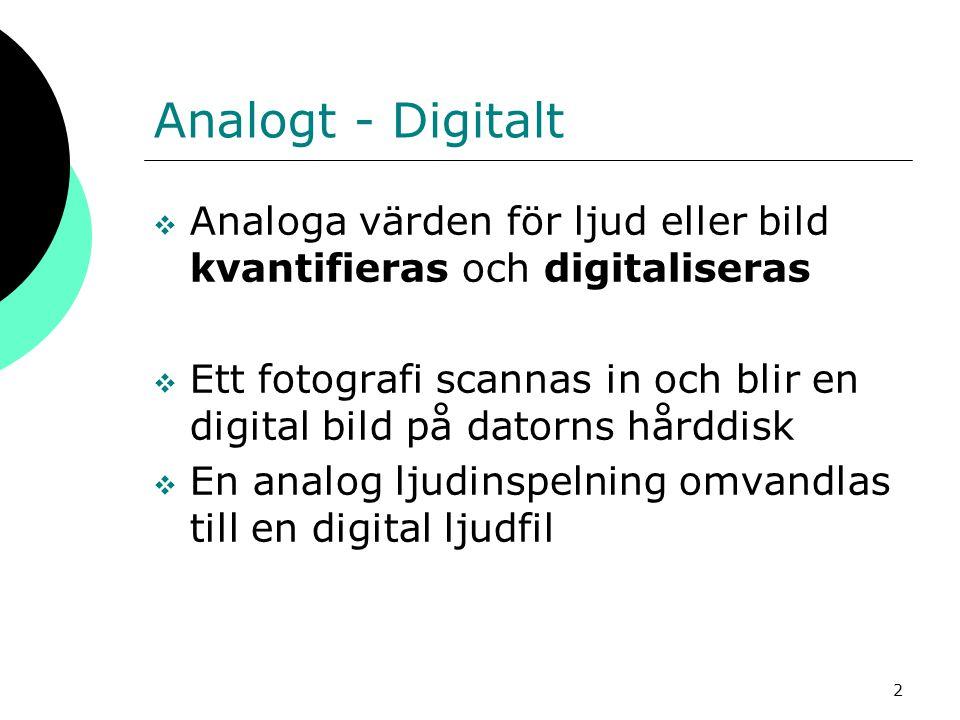 Analogt - Digitalt Analoga värden för ljud eller bild kvantifieras och digitaliseras.