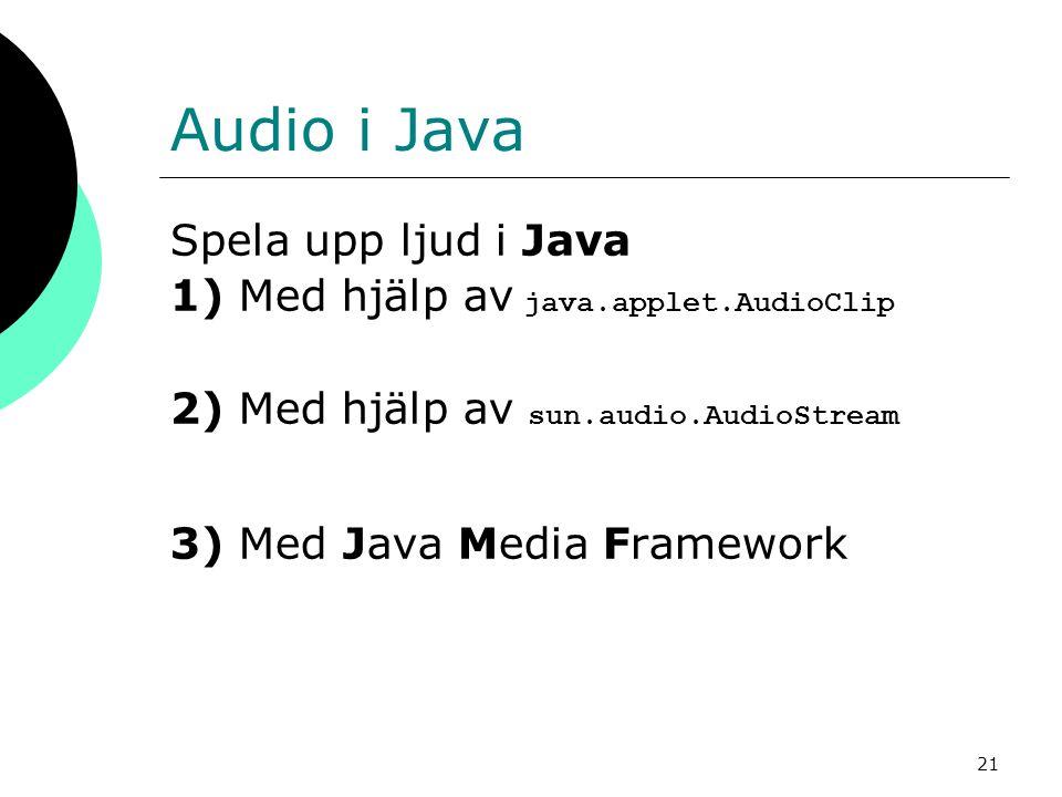 Audio i Java Spela upp ljud i Java
